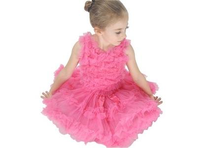 sukienka taniec SESJA urodziny N013HOTPINK 8-9lat