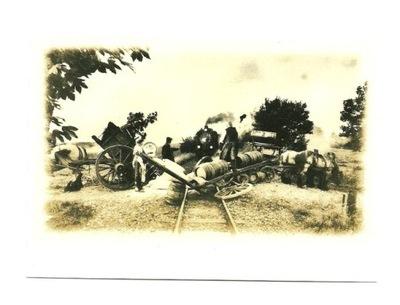 Открытка - Бочки с пивом и локомотив / несчастный случай