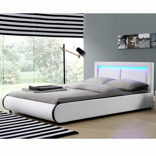 612 łóżko Tapicerowane Stelaż Led 180x200 Murc Rgb