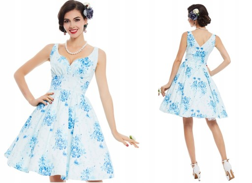 Sukienka wesele pin up retro biała niebieska M 38