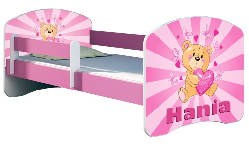 Łóżko dziecięce 160x80 + materac RÓŻOWE ACMA