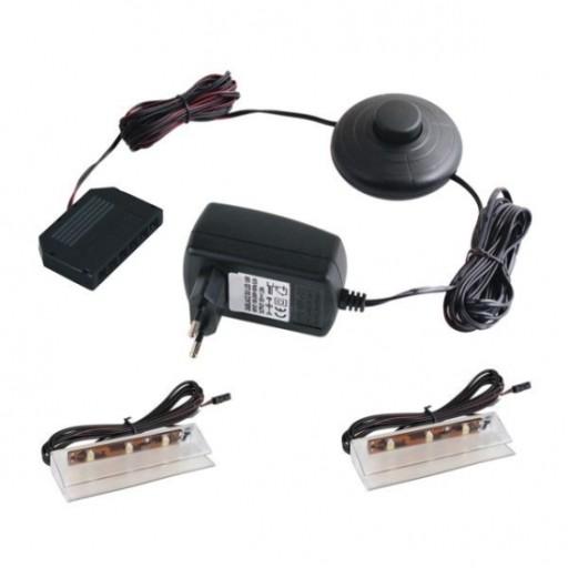 Zestaw 2 klipsów LED do szyb, półek +zasilacz #820