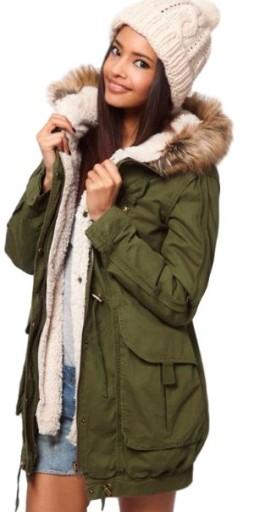 d3d93d6f Damska kurtka zimowa zielona parka modna futro XS