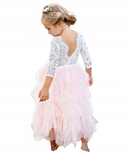 4923b07cdd wesele sukienka suknia 134 koronka dużo falbanek 7526195958 - Allegro.pl