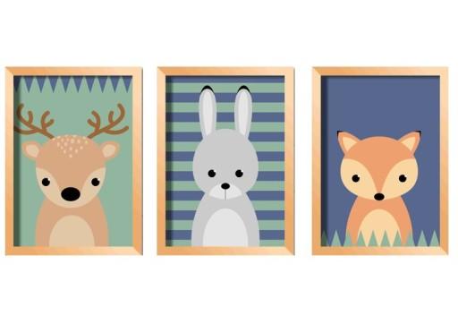 Plakaty Dla Dzieci Leśne Zwierzęta A3 Granatowe