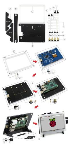 LCD 5'' TFT (B) ver 2.1 + obudow HDMI Raspberry