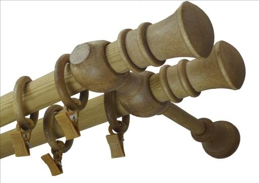 Karnisz drewniany fi 28 podwójny 3,0 m 300 cm