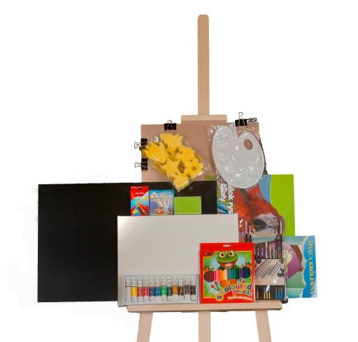 Duży zestaw dla DZIECKA +SZTALUGA farby,kredki...