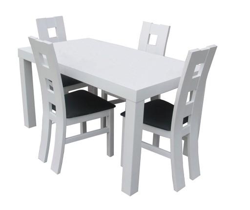 Stół Biały Połysk 120x8040 I 4 Krzesła Elegancki 6618177563