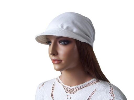 Chustka damska z daszkiem lato biała bawełniana
