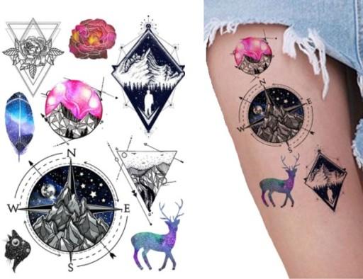Symbole Tatuaż Z Kompasem Trójkąty Znaki Tm134