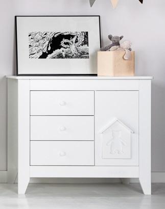 Biała KOMODA domek szuflady szafeczka NOUKY na JUŻ
