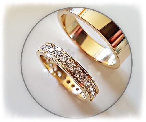 5e10bd59884541 Diamentowa obrączka i męska klasyczna złoto 585 7945611724 - Allegro.pl