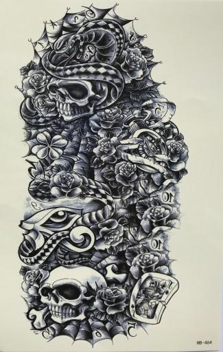Tatuaż Zmywalny Czacha Kwiat Karta Duży 20x10cm