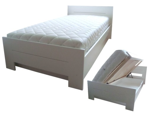 łóżko Drewniane Białe Z Pojemnikiem Proste 100x200