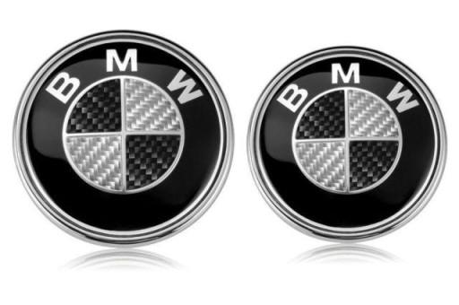 2 szt. emblemat znaczek BMW 82 mm oraz 74mm carbon