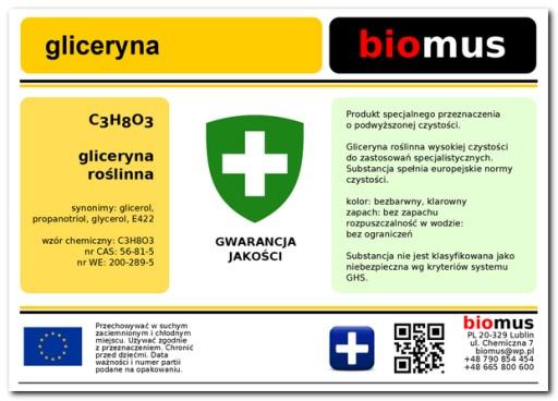 GLICERYNA roślinna 1kg glikol propylenowy1L BIOMUS