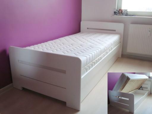 łóżko Drewniane Białe Z Pojemnikiem Proste 90x200