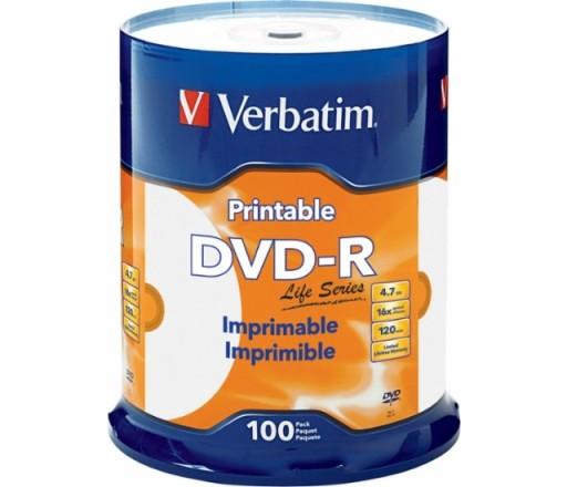 Płyty Verbatim DVD-R PHOTO PRINTABLE szt 100 nonID