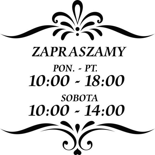 NAKLEJKA godziny otwarcia ZAPRASZAMY drzwi 30 cm
