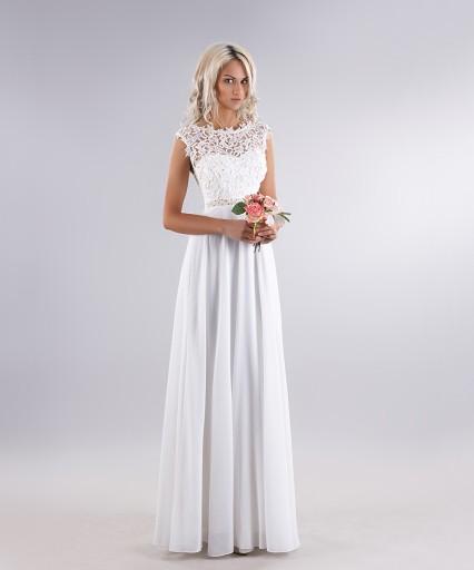 Pudrowa Sukienka ślub Cywilny Wesele Druhny 7470927370 Allegropl