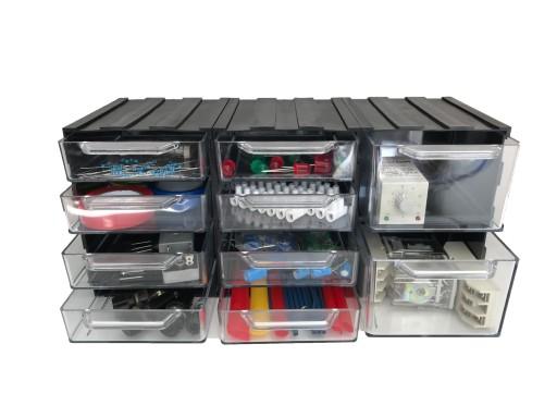Organizer dla elektryka, 10 szufladek w obudowie