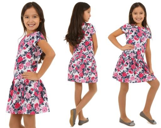 Rozkloszowana sukienka w kwiaty, wzory 152-158