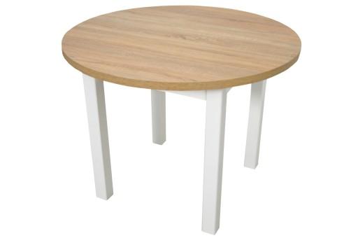 Biały Okrągły Stół 100 Cm Drewniany Blat Laminat 7289722584