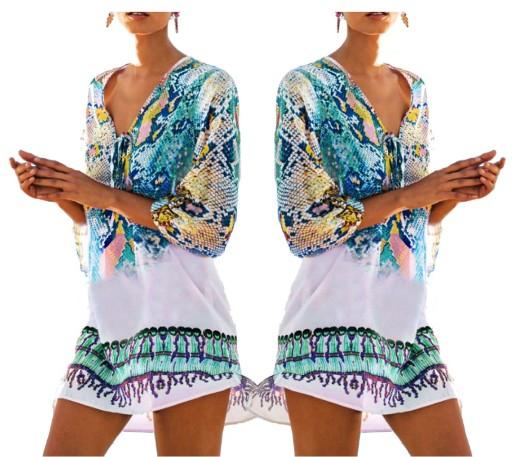 156f11994b Sukienka tunika letnia plażowa Boho 42156 BLUE 6926352716 - Allegro.pl