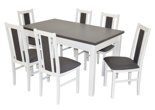 Stół 6 Krzeseł Do Kuchni Salonu Biały Grafit