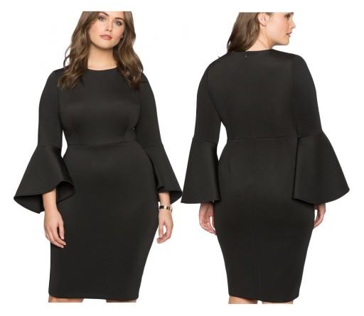 Sukienka koktajlowa klasyczna czarna PLUS SIZE 52