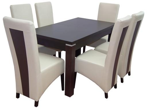 śliczny Zestaw Do Salonu Rozkładany Stół Krzesła 6934579668
