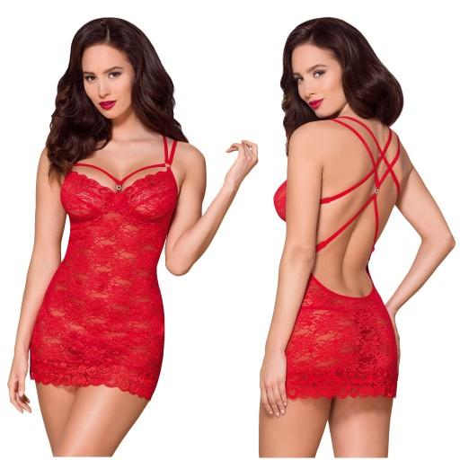 c3262e738435a2 Obsessive 860-CHE-3 czerwona koszulka stringi S/M 7675016770 ...