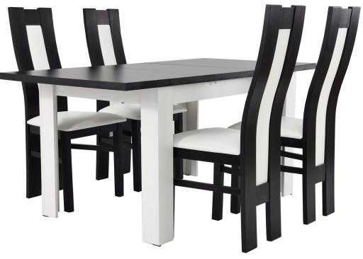 Biało Czarny Zestaw Pokojowy Stół 4 Krzesła Drewno