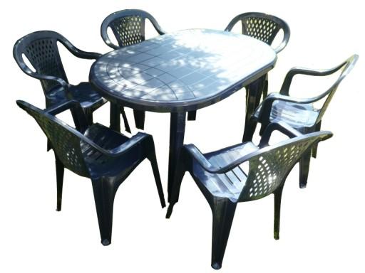 Plastikowy Ogrodowy Zestaw 6 1 Duzy Stol Krzesla 9056793477 Allegro Pl