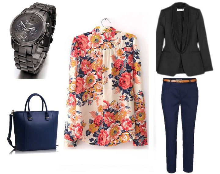 Women's slim fit blouse shirt in colorful flowers 9664446533 Odzież Damska Topy IX JJYPIX-9