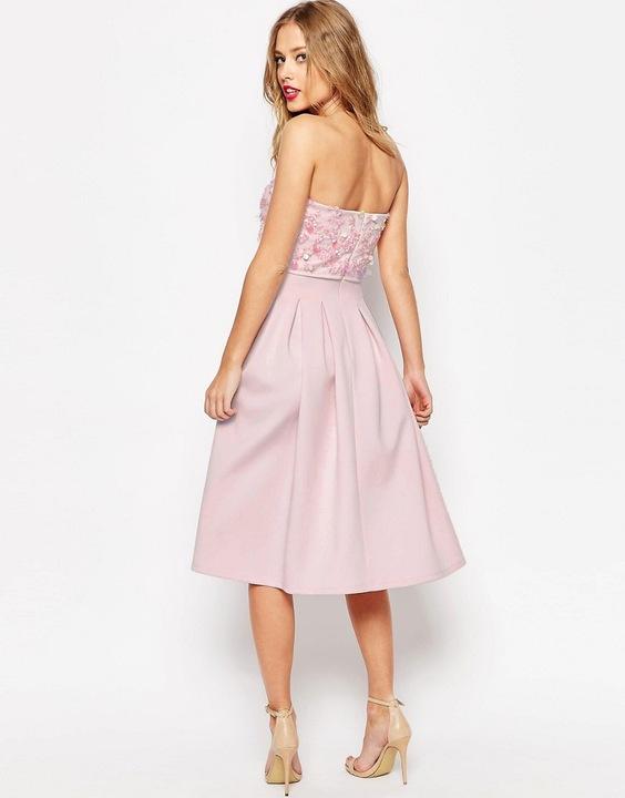 ASOS SALON midi zdobiona sukienka scuba 38 M 8634723949 Odzież Damska Sukienki wieczorowe LA UKSHLA-5