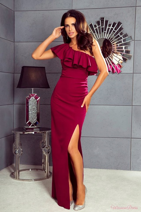 Maya CZERWONA DŁUGA SUKIENKA NA JEDNO RAMIĘ XS 8974199753 Odzież Damska Sukienki wieczorowe QJ DDAEQJ-4