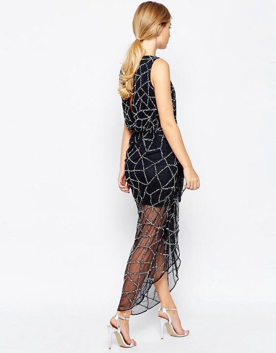 ASOS wieczorowa bogato zdobiona sukienka S 36 8634737572 Odzież Damska Sukienki wieczorowe CK BFUHCK-2