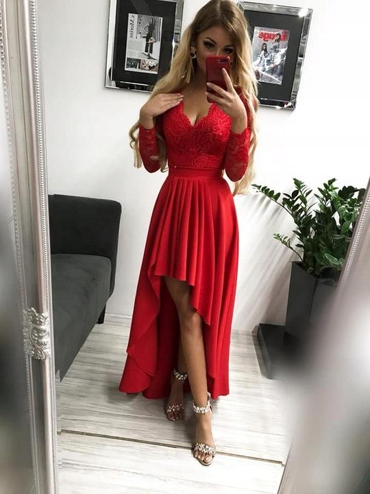 Loren CZERWONA DŁUGA SUKIENKA z KORONKOWĄ GÓRĄ M 9669432312 Odzież Damska Sukienki wieczorowe WG CFUAWG-6