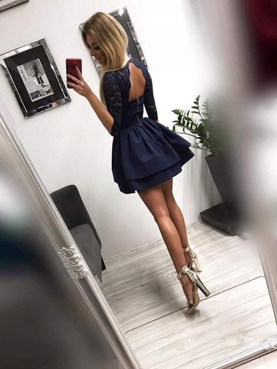 Glam BORDOWA KORONKOWA ROZKLOSZOWANA SUKIENKA S 9671594328 Odzież Damska Sukienki wieczorowe XX OWPOXX-1