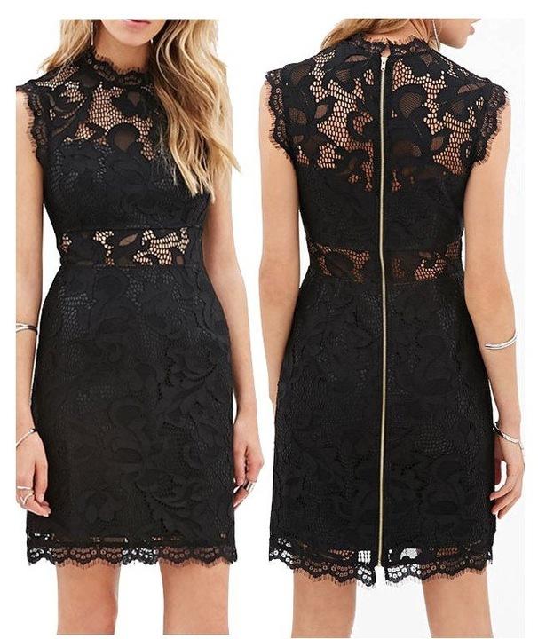 Sukienka sexy mini koronka piękna ażurkowa 22076 S 6809890198 Odzież Damska Sukienki wieczorowe OE EQXLOE-1
